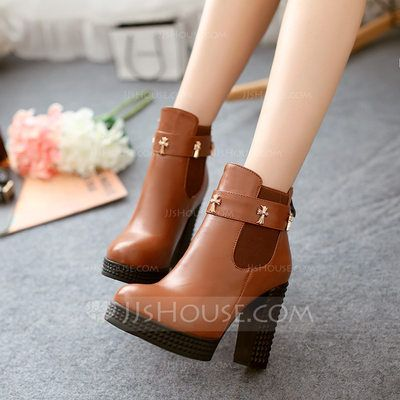 e5da6a680aa7  US  38.99  Women s Leatherette Chunky Heel Pumps Platform Ankle Boots With  Elastic Band shoes (088145939)