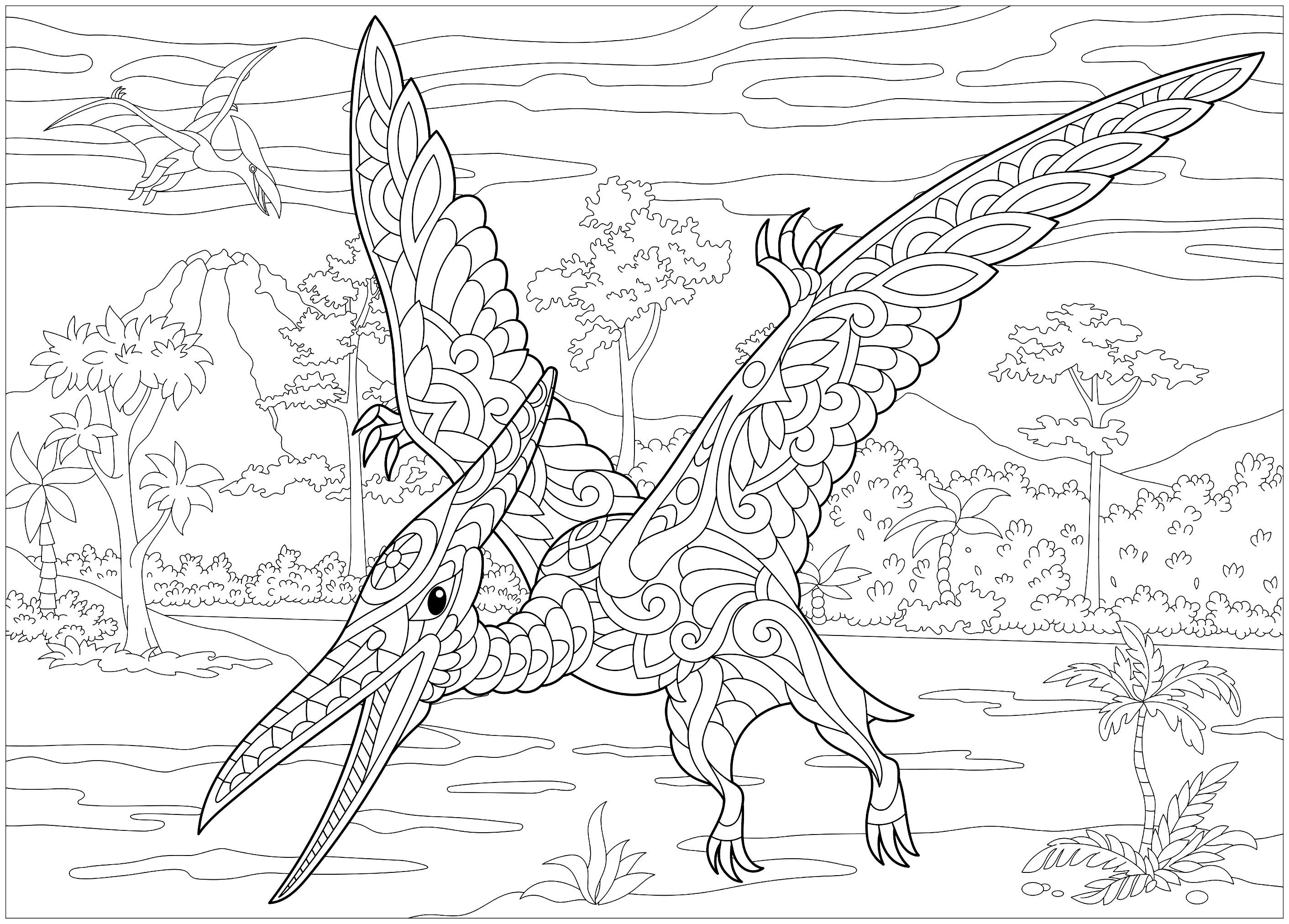 Pterodactyl Dinosaurs Coloring Pages For Adults Just Color