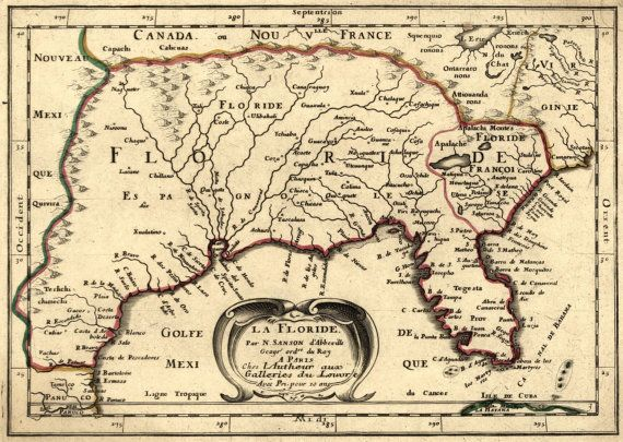 Map Of Florida Southern Usa 1649 Caribbean By Gallerylf On