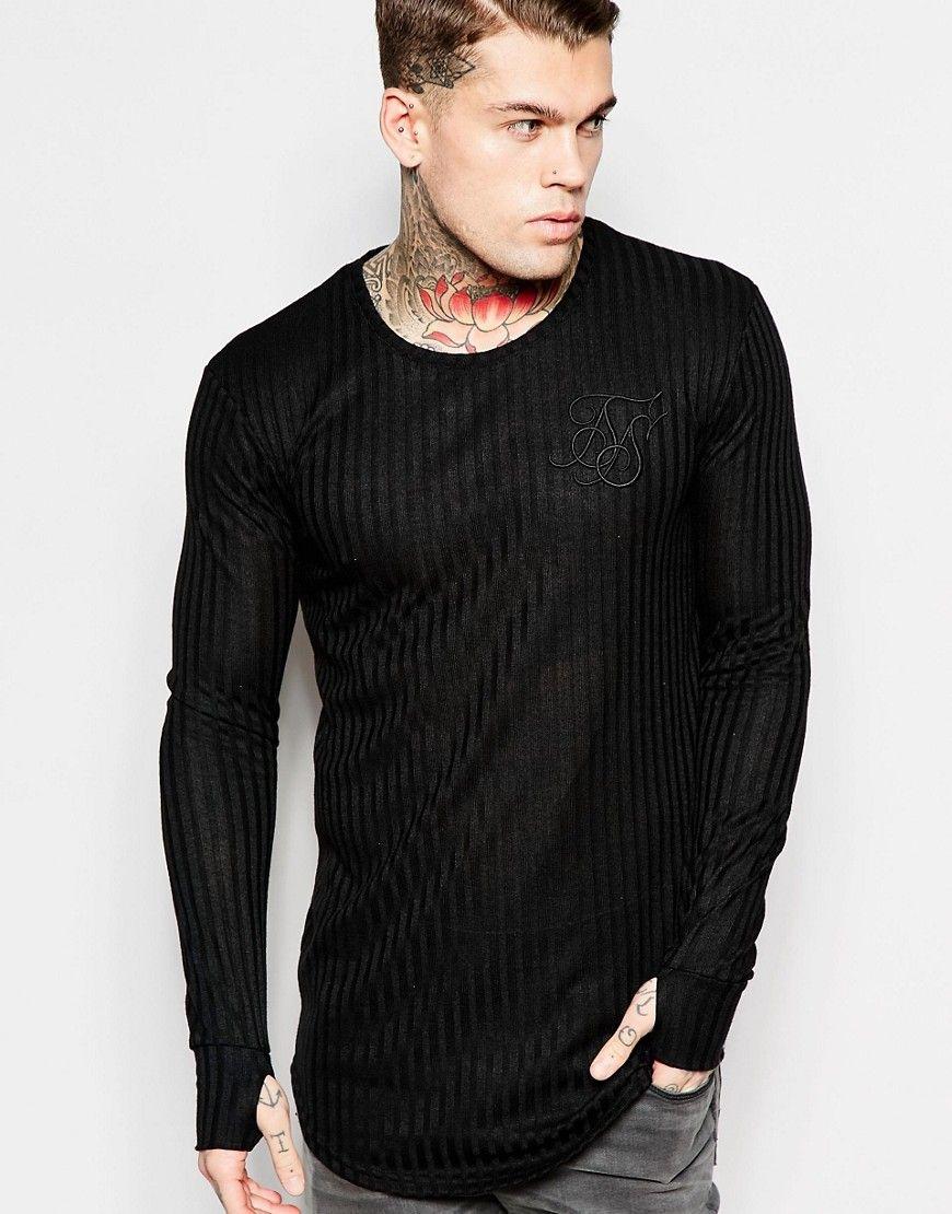 Super seje SikSilk Longline Long Sleeve T-Shirt In Rib - Black SikSilk Plain til Herrer i fantastisk kvalitet
