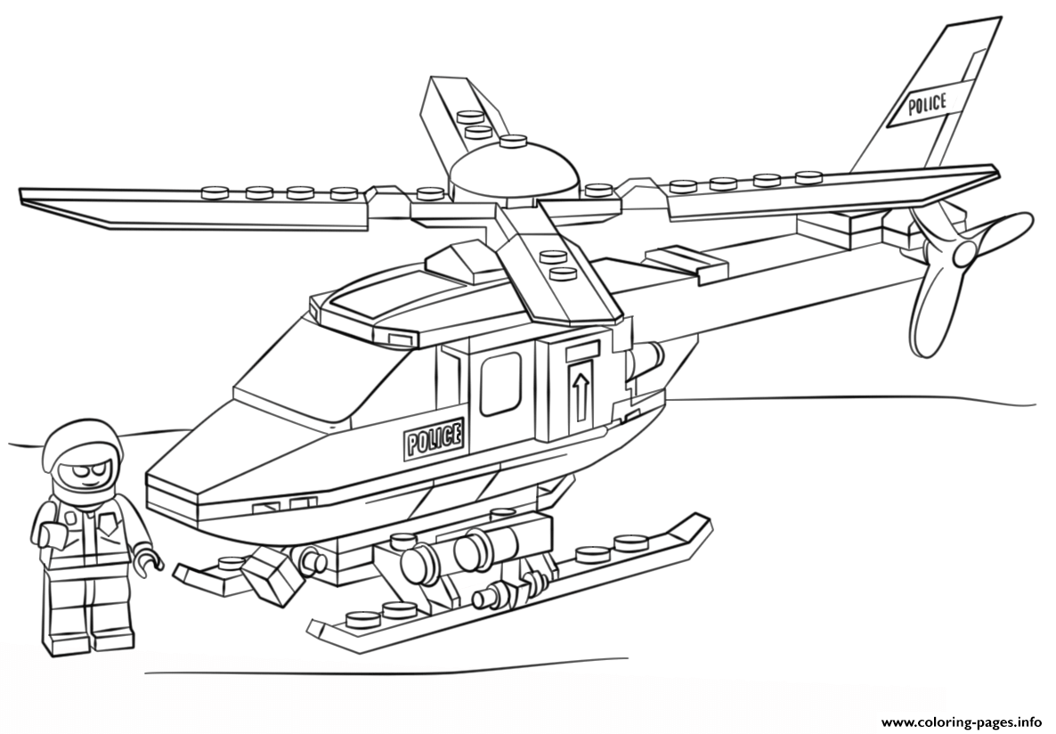 Print Lego Police Helicopter City Coloring Pages