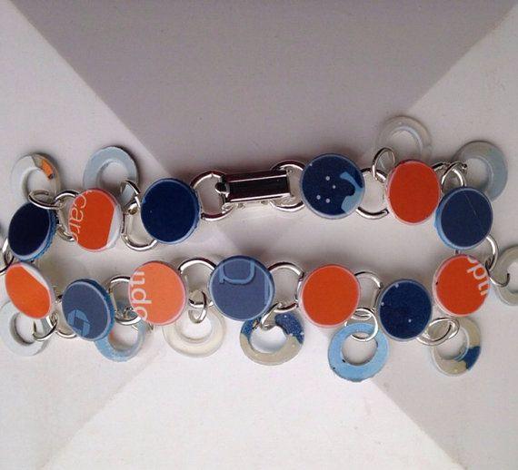 "8"" Orange and Blue Recycled Giftcard Bracelet Broncos, Boise State, Auburn Tigers, Cal, Syracuse, Virginia, Florida Gators , Illinois on Etsy, $15.00"