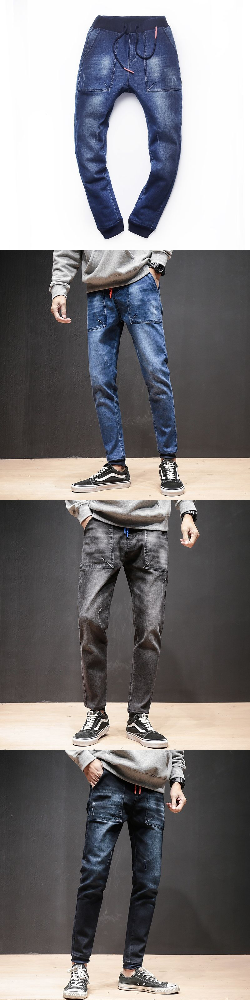2017 Fashion New Brand Mens Harem Jeans Legging Denim Pants Elastic Feet Pants Men Hip Hop Rap Blue Jeans Skinny Jumpsuit Skinny Pants