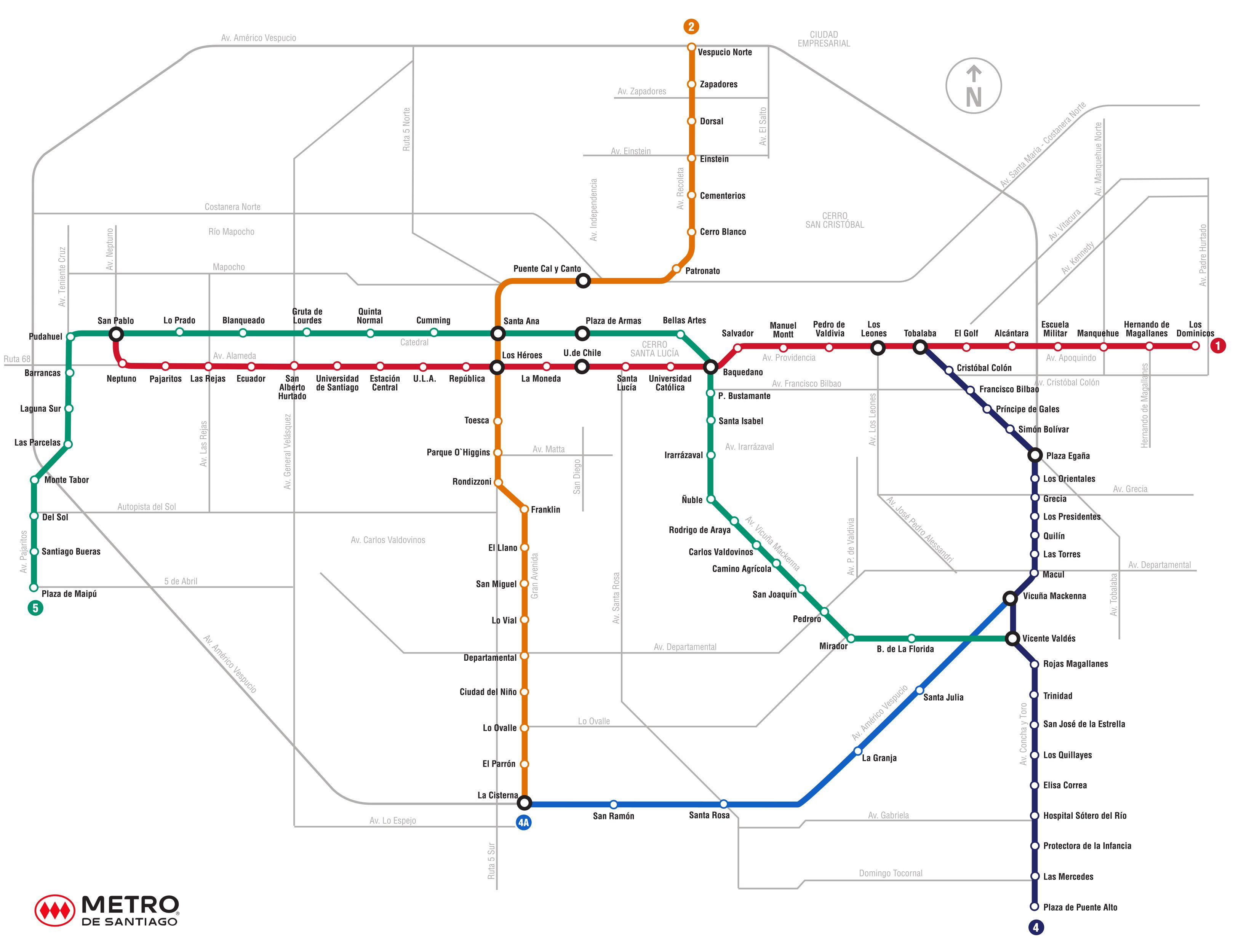 Plano de red metro santiago de chile mapas y esquemas for Mapa de santiago de chile