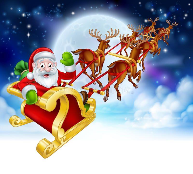 Santa Reindeer Sleigh Cartoon Christmas Scene Santa Claus Cartoon Character In Sponsored Sponsored Reindeer Drawing Santa And Reindeer Christmas Paintings