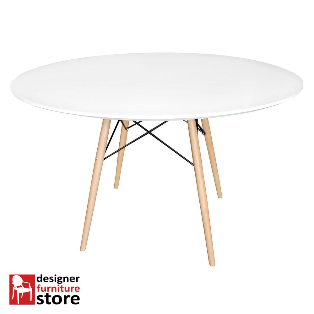 Schaukelstuhl swing insp eames rocking chair rar ahorn - Replica Charles Eames Round Dining Table Beech Wood Legs 100cm White Table Top