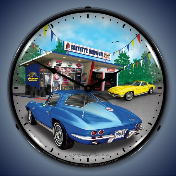 Wall Clocks Lighted Corvette Clock Corvette Wall Clock Light