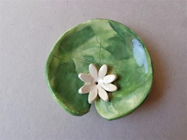 ring ring pad jewelry pad ring jewelry Water lily pad lotus incense burner yoga meditation zen pottery incense cone holder trinket dish