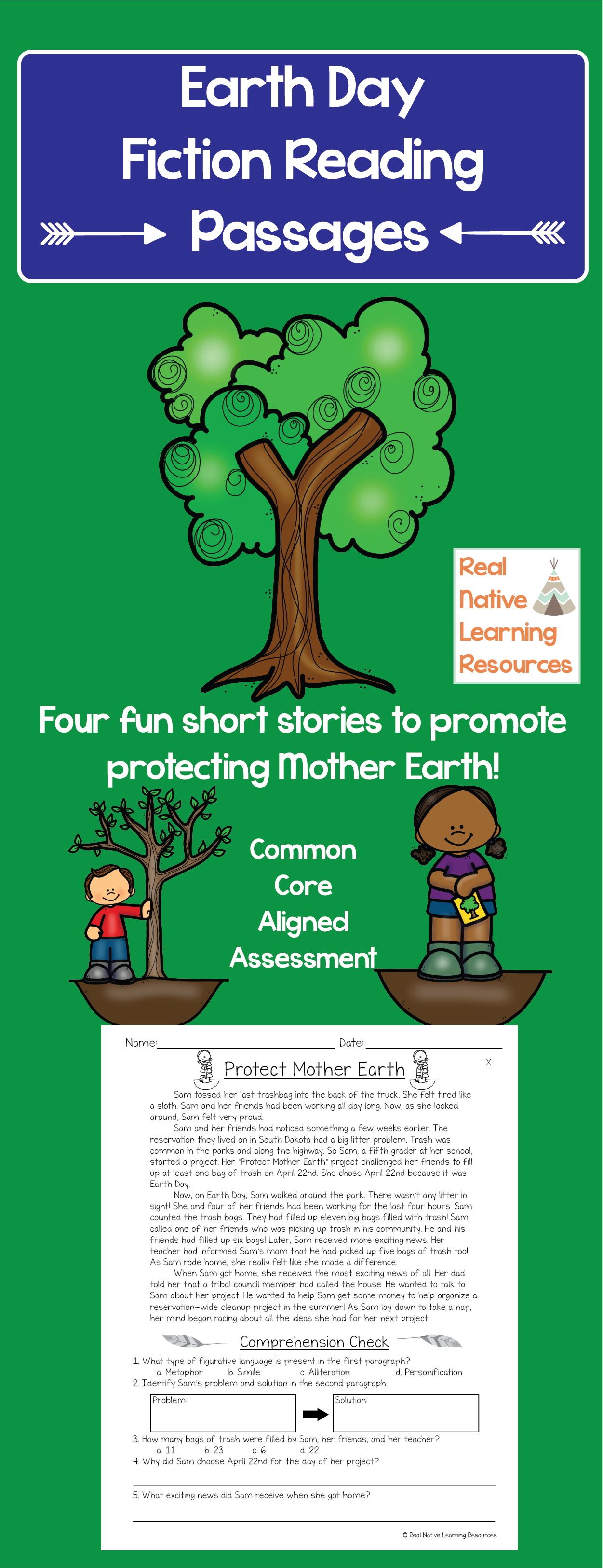Earth Day Fiction Reading Passages With Assessment