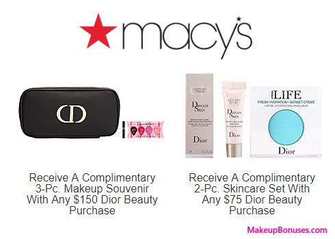Macy's Free Beauty Gift with Purchase Offers from Dior Beauty, Kiehl's, Origins, Peter Thomas Roth, philosophy, & SK-II - details at MakeupBonuses.com ...