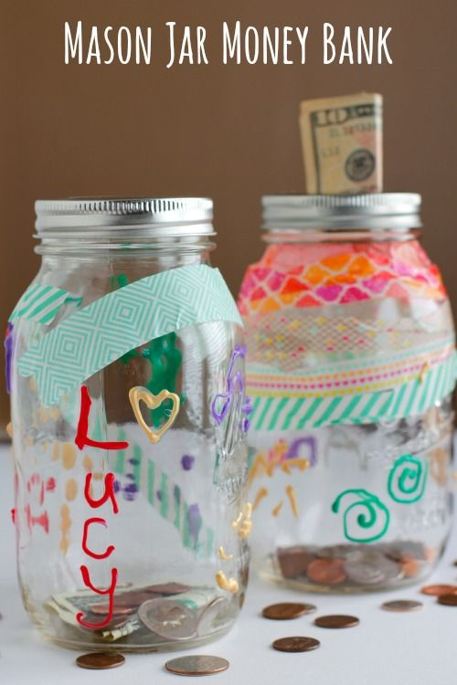 DIY Mason Jar Money Bank Kids Craft - I like that M can see her money inside of something she creates!