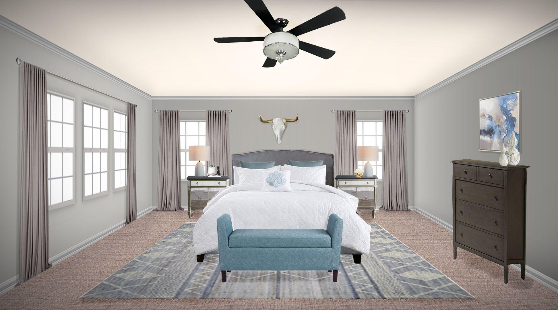 Blue And Grey Modern Traditional Master Bedroom Design Master Bedroom Design Blue Bedroom Decor Modern Bedroom Design
