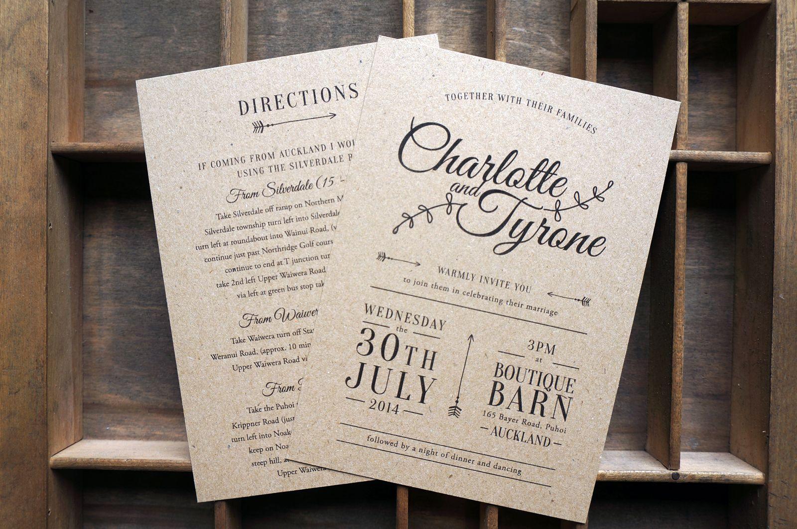 Rustic Black and White Wedding Invitations, Kraft Paper, Custom ...