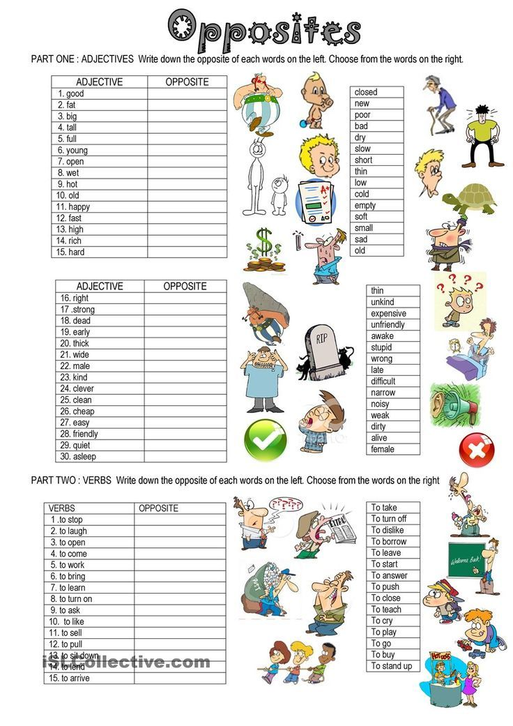 OPPOSITES English adjectives, English grammar worksheets