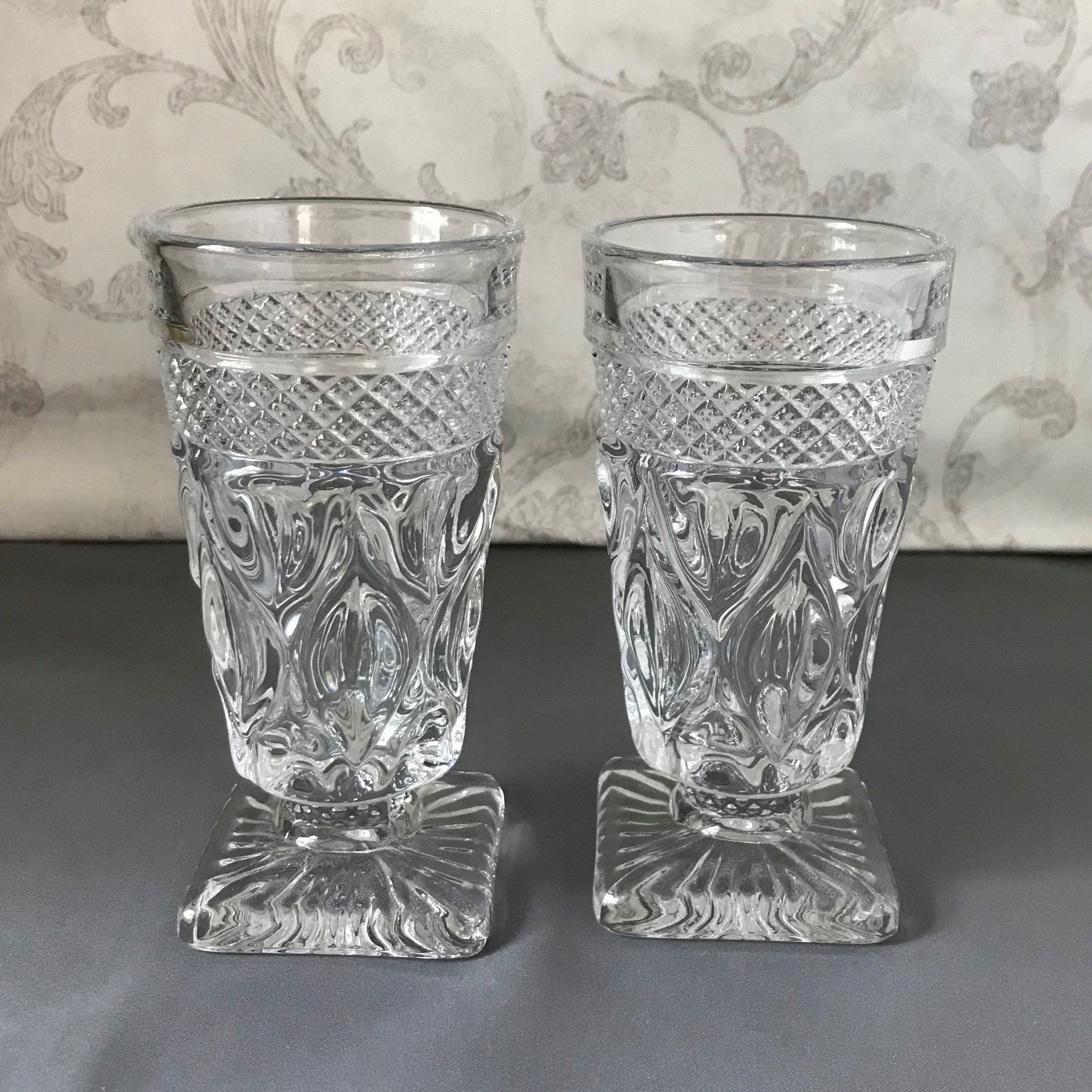 Set Of 2 Juice Glasses Cape Cod Clear Footed Tumbler Faceted Stem Imperial Glass Ohio Vintage Drink Imperial Glass Vintage Drinking Glasses Juice Glasses