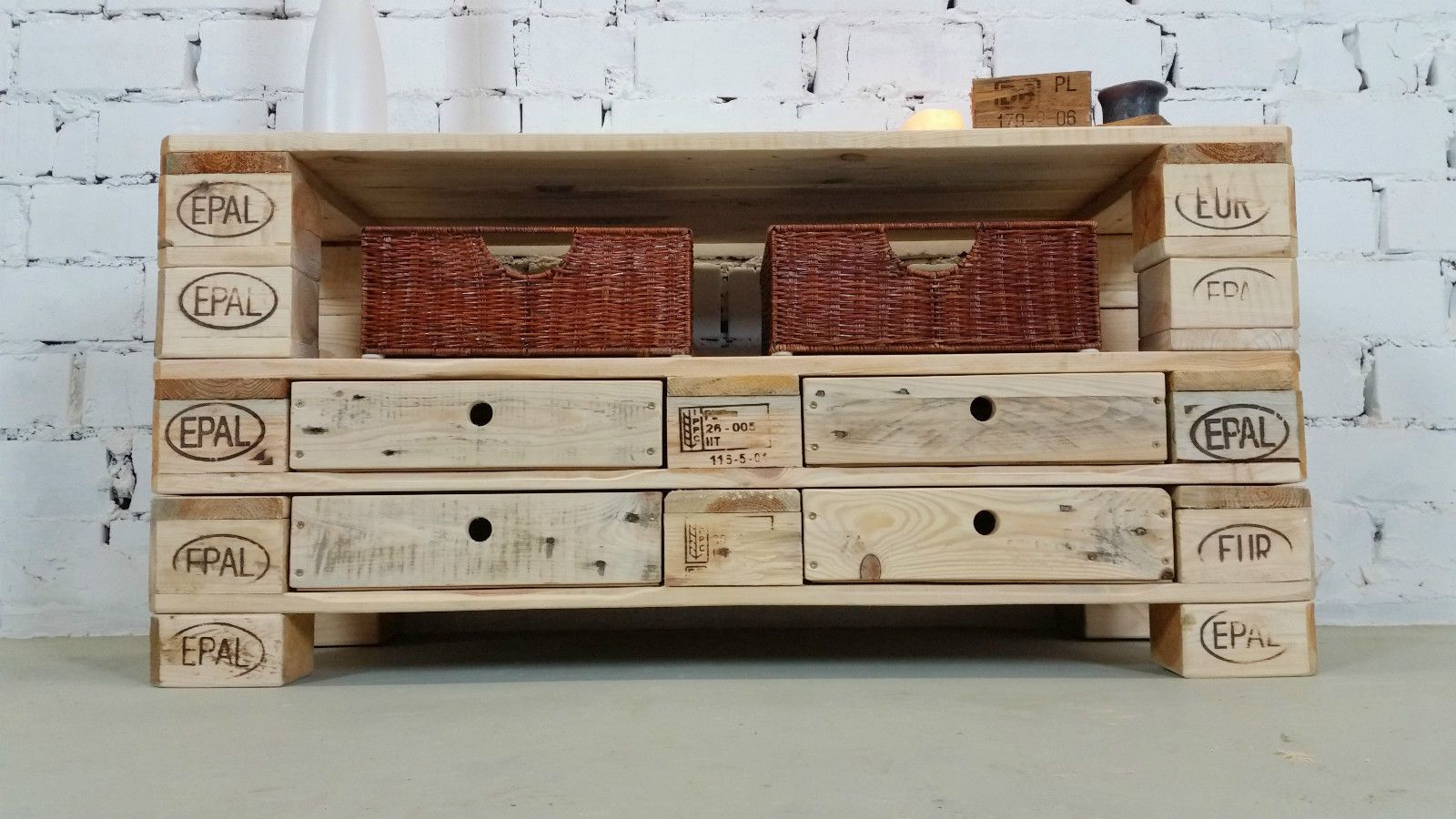 Tv Schrank Upcycling Palettenmöbel Lowboard No 7 Rustikal Sideboard Tv Board Upcycling