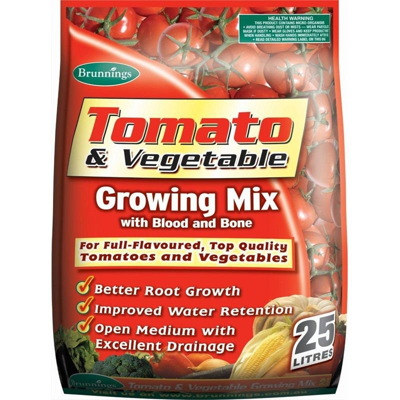 Brunnings 25L Tomato and Vegetable Growing Mix Growing