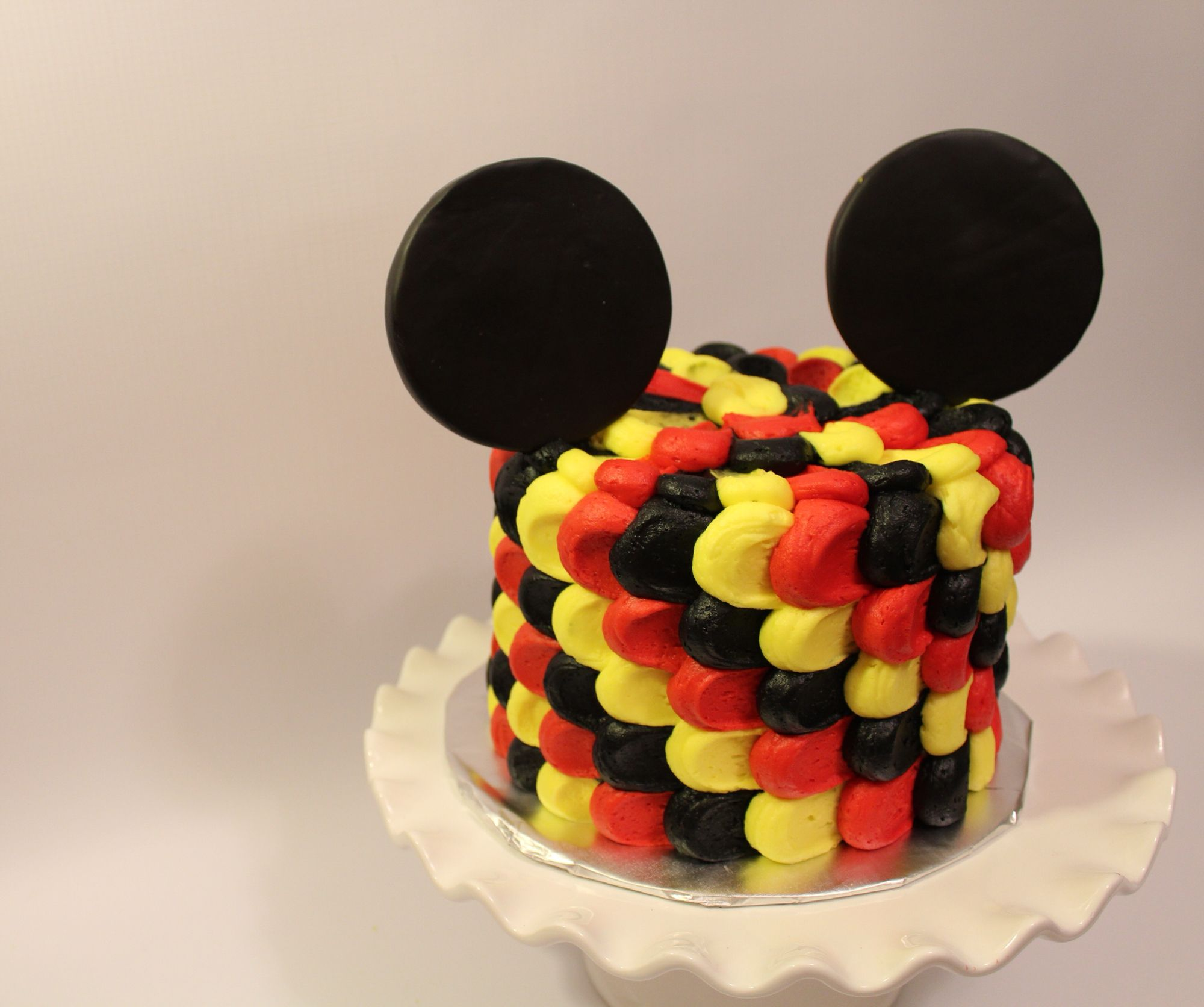 Mickey Mouse smash cake! Ears made from modeling chocolate, tri ...