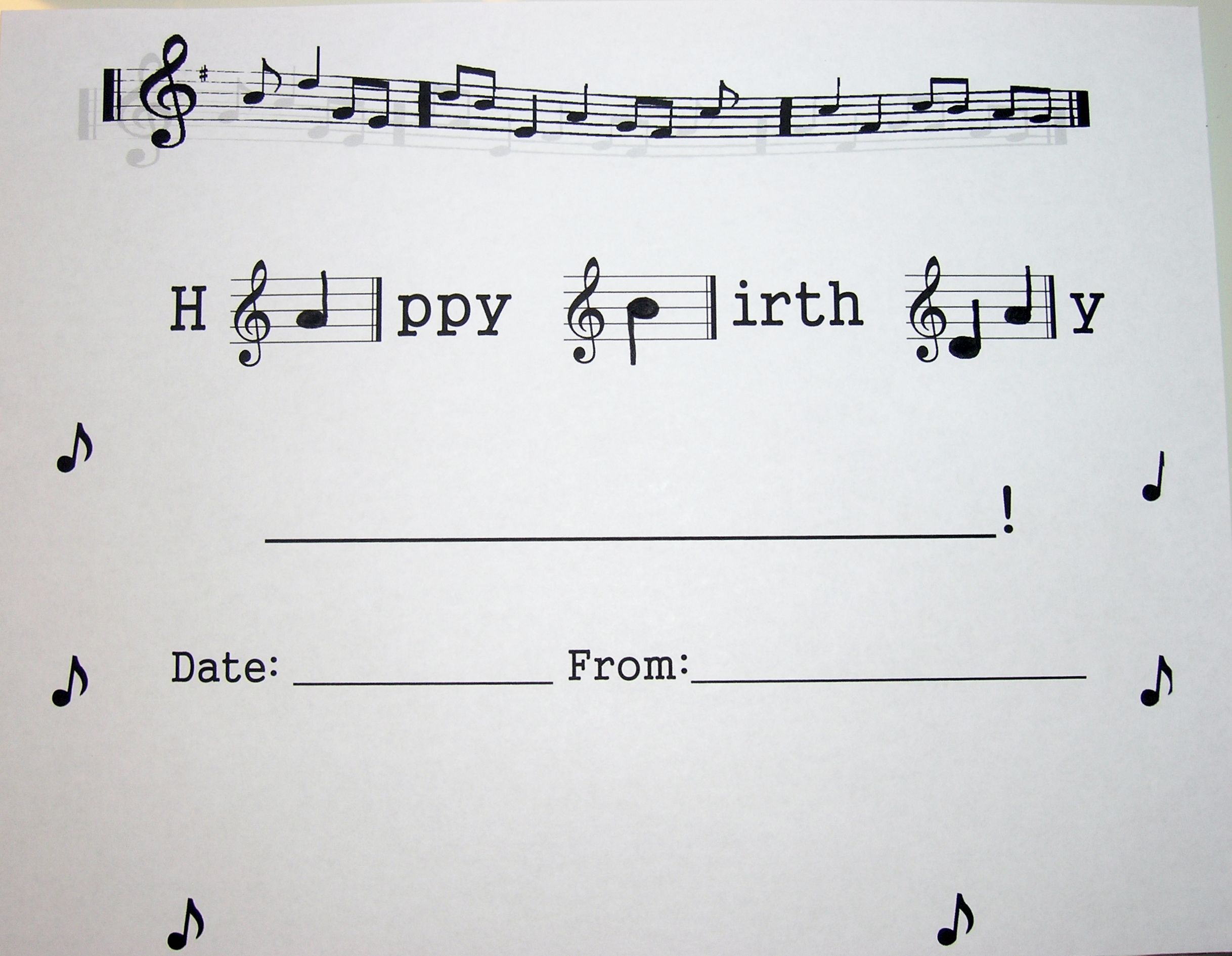 Piano birthday certificate--PDF printable and downloadable piano sheet music for Happy Birthday song. SO dang cute!!!