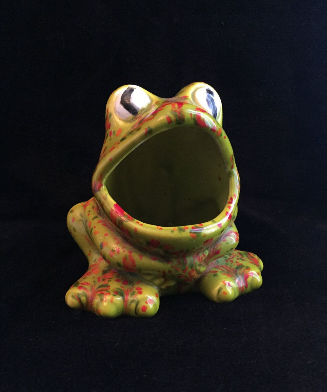 $15 Vintage Wide Mouth Frog Ceramic Vintage Scrubbie Holder Green Kitchen  Decor Splatter Green Frog Kitchen