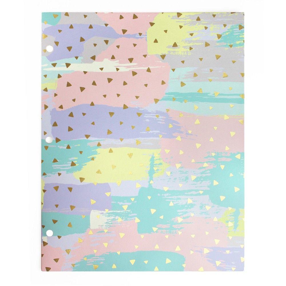 2 Pocket Paper Folder Pastel Brushstokes - greenroom, Multi-Colored