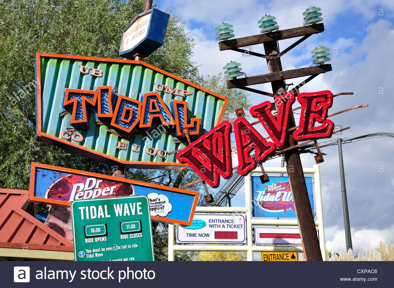Download This Stock Image Tidal Wave Ride Signs At Thorpe Park Theme Park Chertsey Surrey England United Kingdom Cxpac6 Thorpe Park Theme Park Chertsey