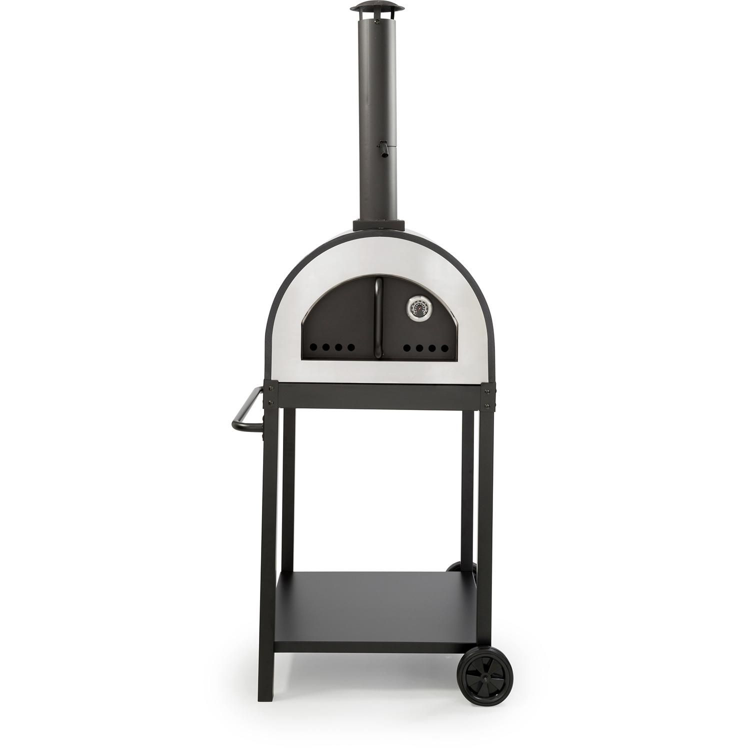 Wppo Deluxe 24 Inch Outdoor Wood Fired Pizza Oven Black Ku17blk Bbqguys In 2020 Blanket Insulation Wood Fired Pizza Outdoor Wood