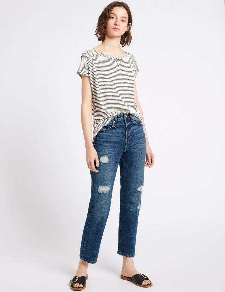 High waist straight leg jeans fashion affordable
