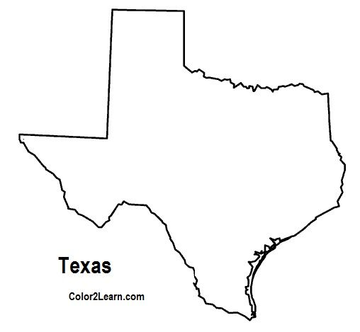 Texas Coloring Pages State Of Texas Outline Map Coloring Page