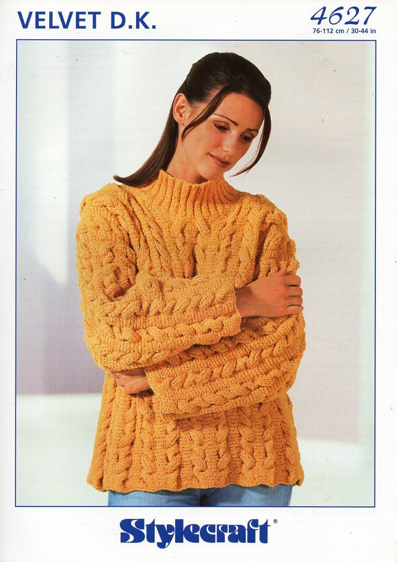 121c438362e4 original womens DK sweater knitting pattern Stylecraft 4627 ladies long  cable jumper 30-44