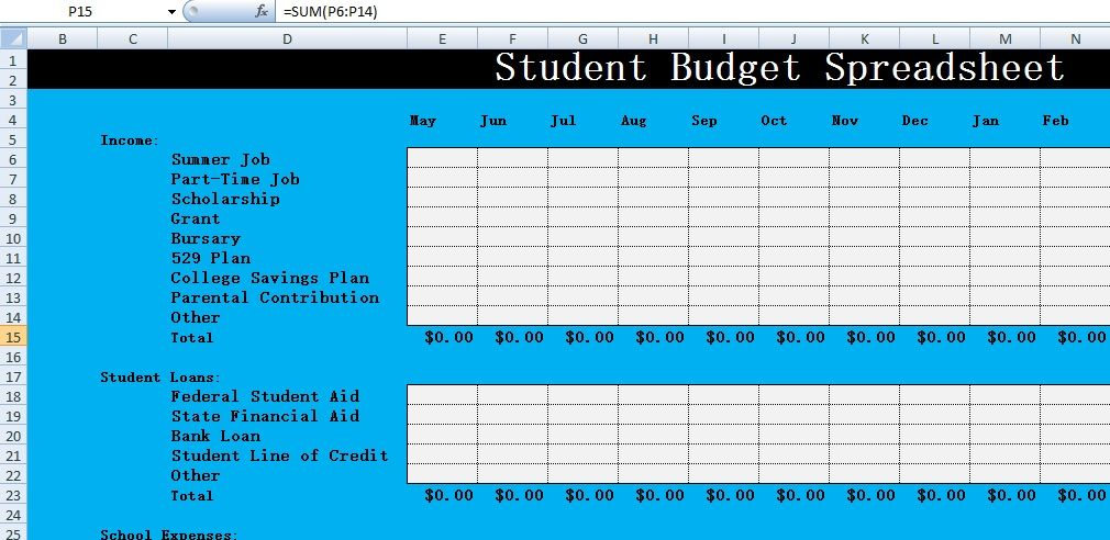 Free Student Budget Spreadsheet Templates – Excel Spreadsheet ...