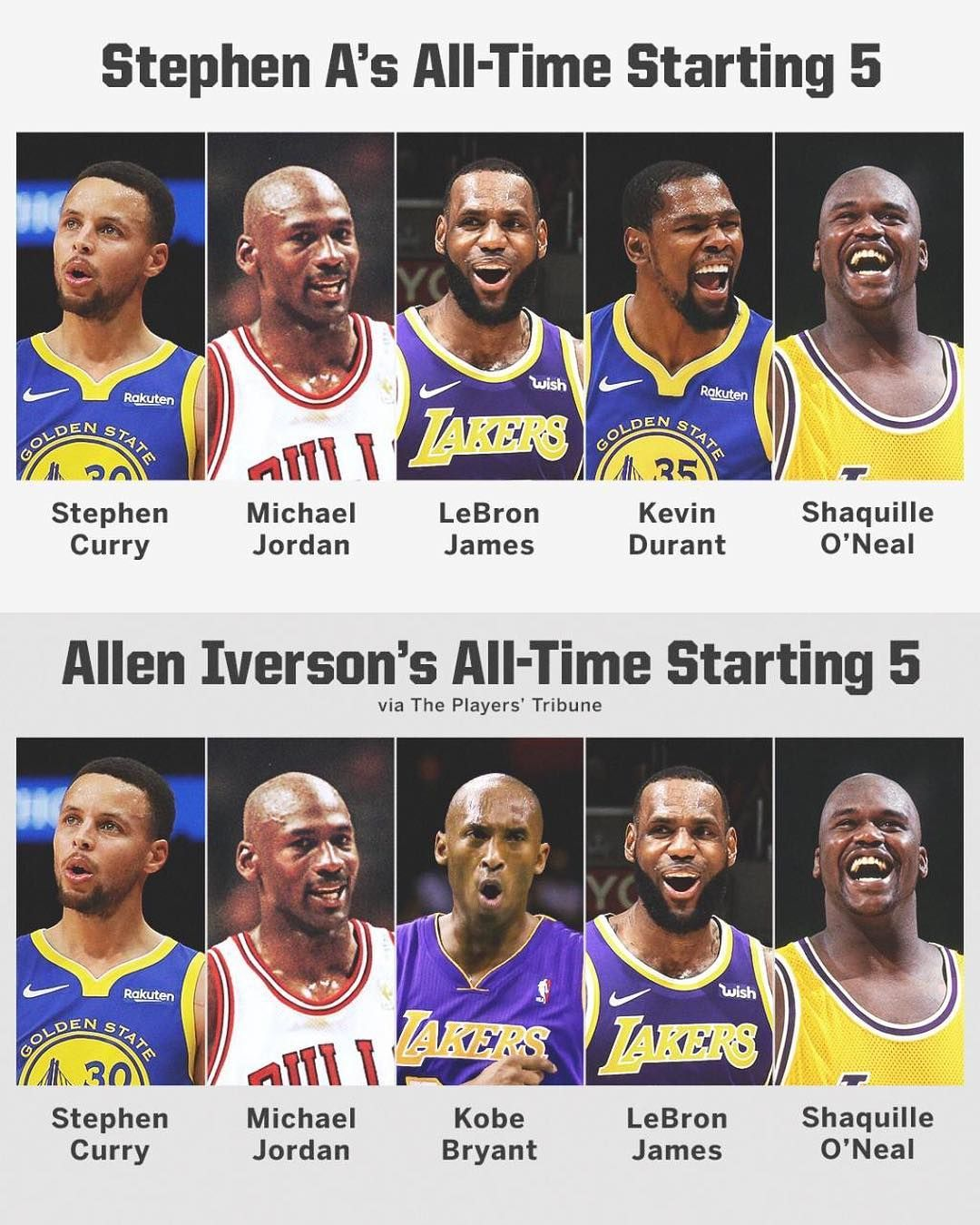 """new arrival 0de9d 877fa Stephen A. Smith on Instagram  """"We all have our top-5 elite starting  lineups. It s not about who s better or worse. It s about preference."""""""