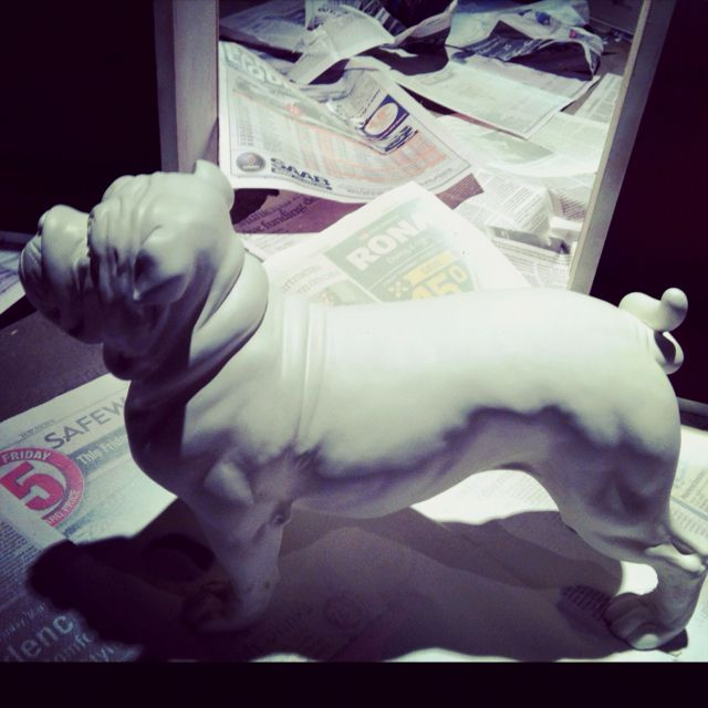 Upcycled this pug sculpture. It was $8 at winners and covered in crayon. I LOVE it.