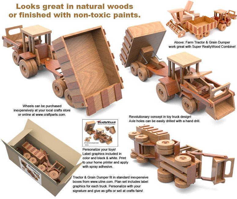 Super Reallywood Big Farm Tractor Grain Dumper Wood Toy