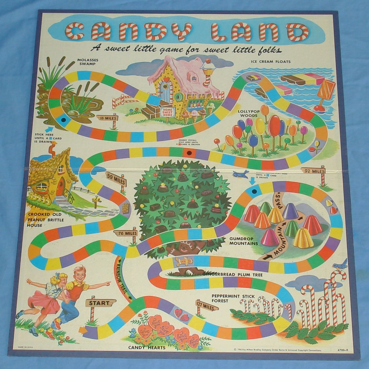 Game board colors - Vintage Games Vintage 1962 Milton Bradley Mb Candy Land Game Board Red Yellow Green