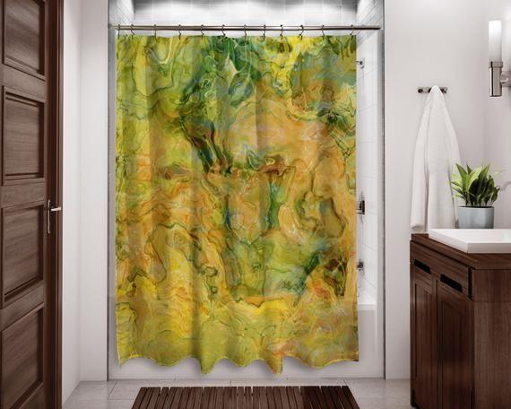 Abstract Art Shower Curtain Contemporary Bathroom Decor Bathroom Art Water Resistant Shower Curta Bathroom Art