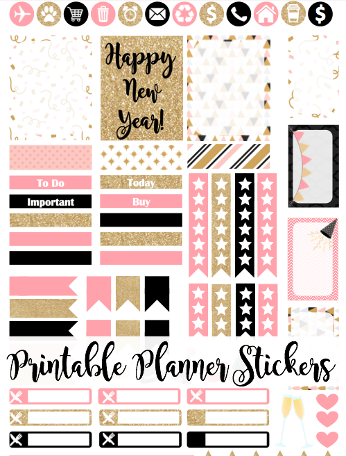 Free printable pink gold glitter new year 39 s planner for Planificador 3d