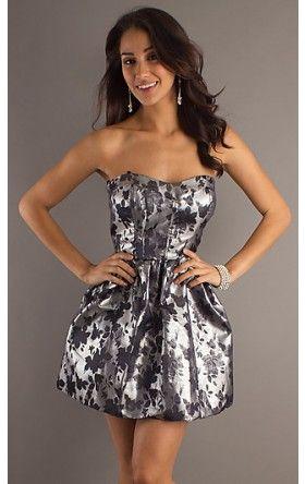 Short Strapless Silver Dress