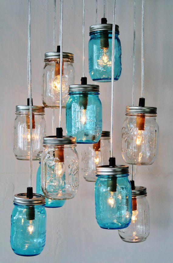 Photo of Mason Jar Cluster Chandelier – Upcycled Hanging Mason Jar Lighting Fixture – Blue & Clear Jars – Rustic BOOTSNGUS Lamps