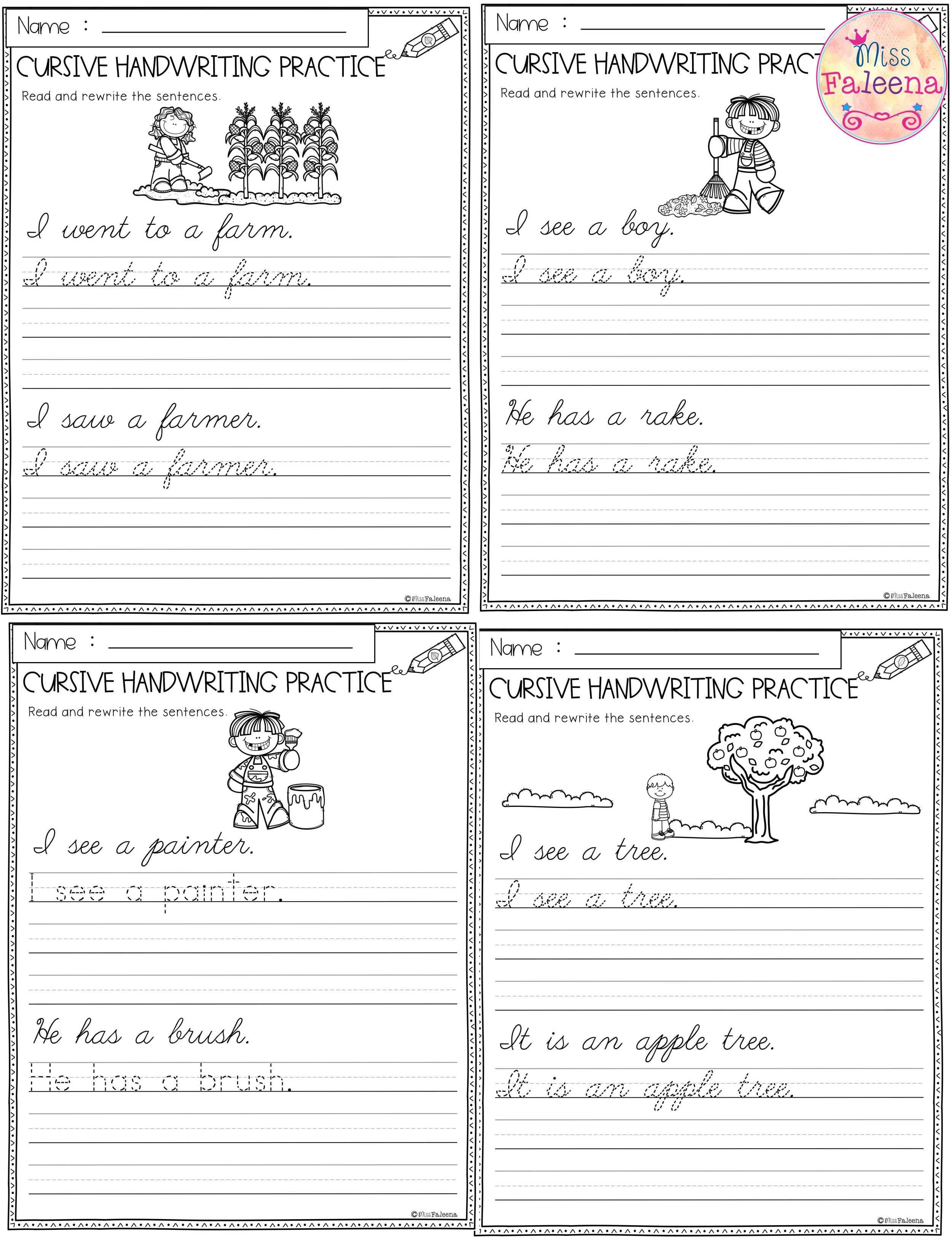 Fall Cursive Handwriting Practice