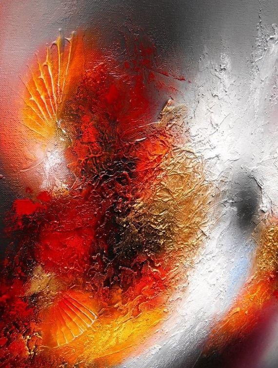 Cosmos tableau abstrait moderne contemporain peinture acrylique en relief noir rouge dor gris for Peinture moderne