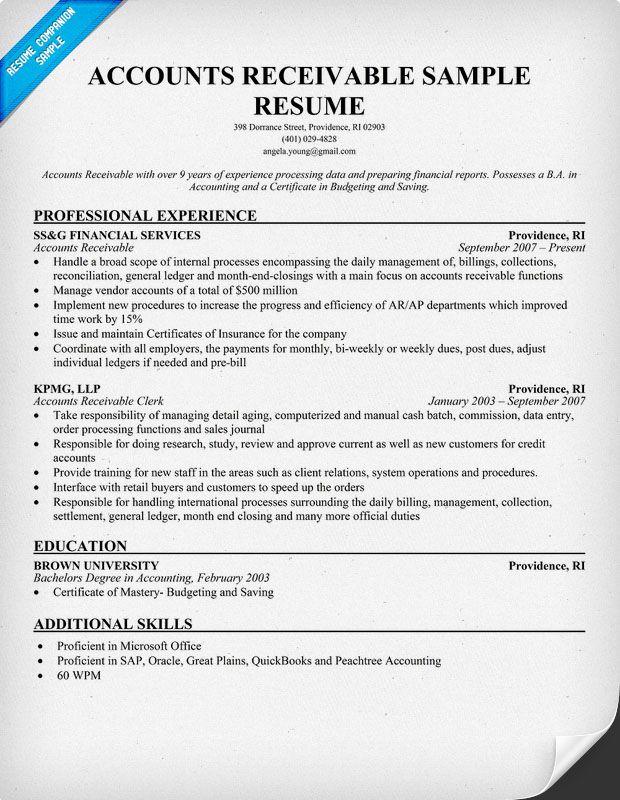 Accounts Receivable Resume Example resumecompanioncom