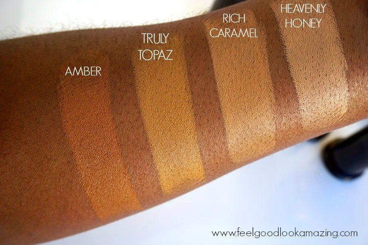 Black Opal True Color Stick Foundation Swatches On Brown Skin Amber