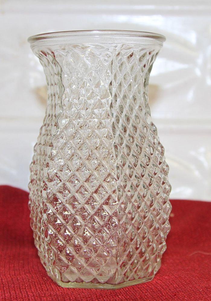 Vintage Hoosier Glass Diamond Point Vase 5 12 Tall Vase