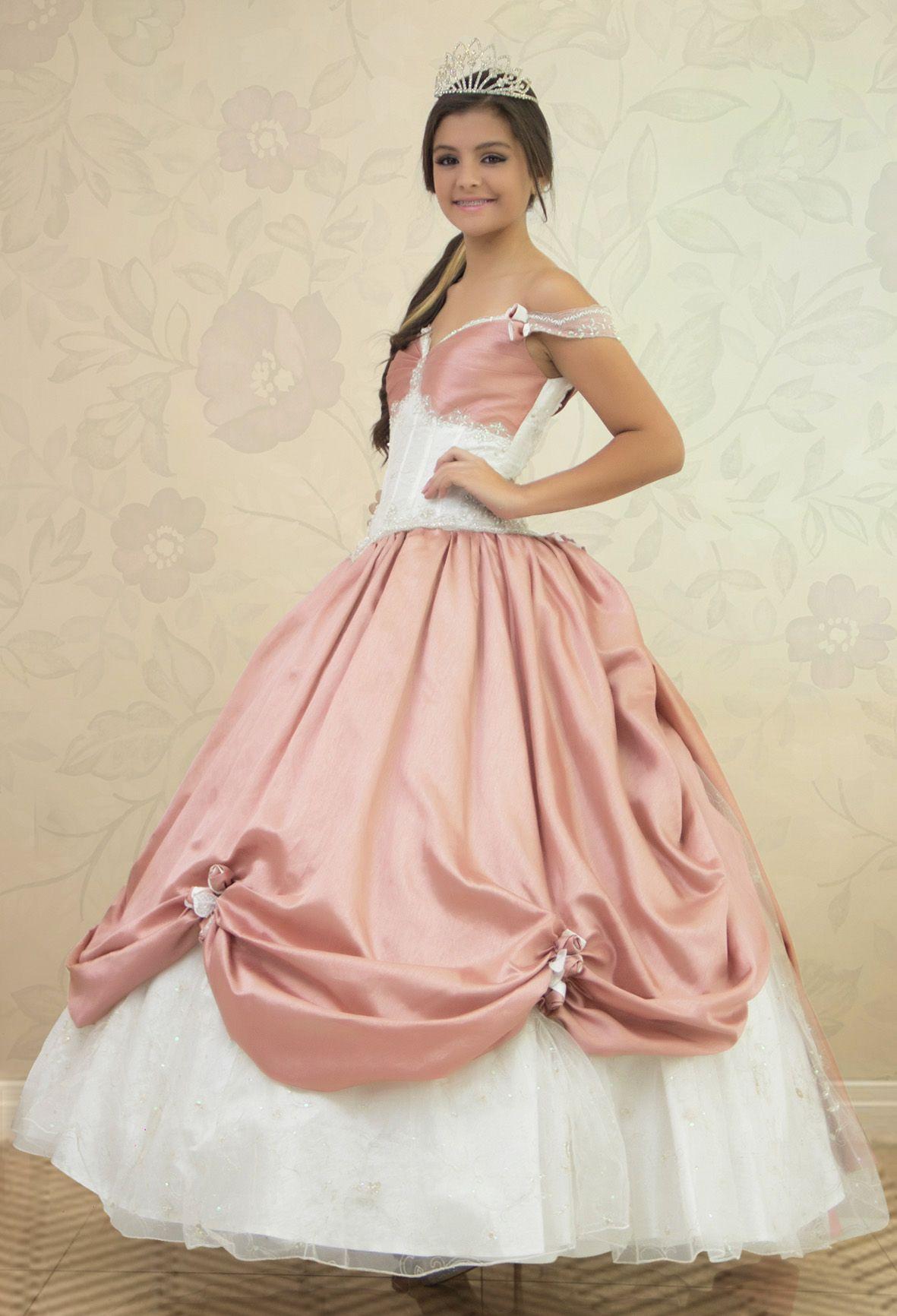 REF.2-8 Vestido de quinces con diseño de dama antigua, color ocre y ...