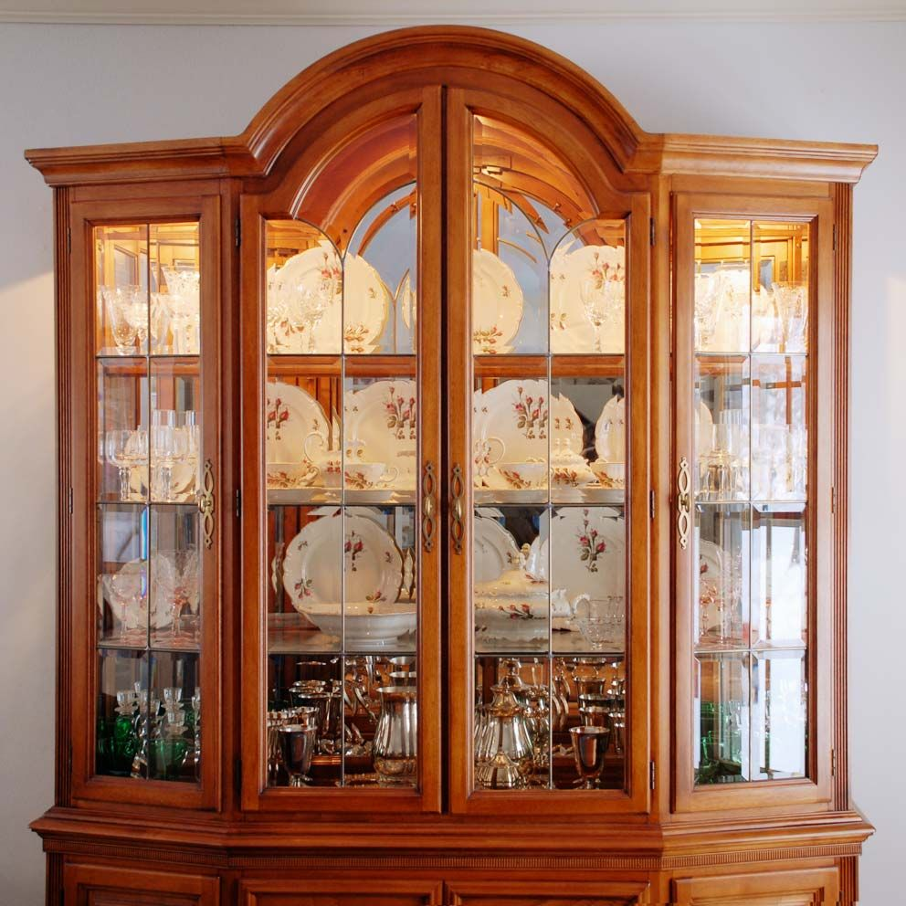 How to arrange a china cabinet google search dining for Arranging dishes in kitchen cabinets