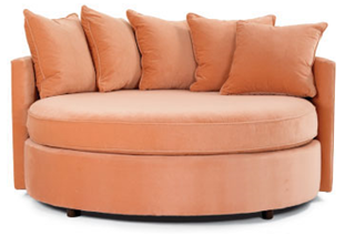 Gentil Round Love Seat With Cushy Pillows....I Would Choose A Different Color But  Love This Piece Of Furniture