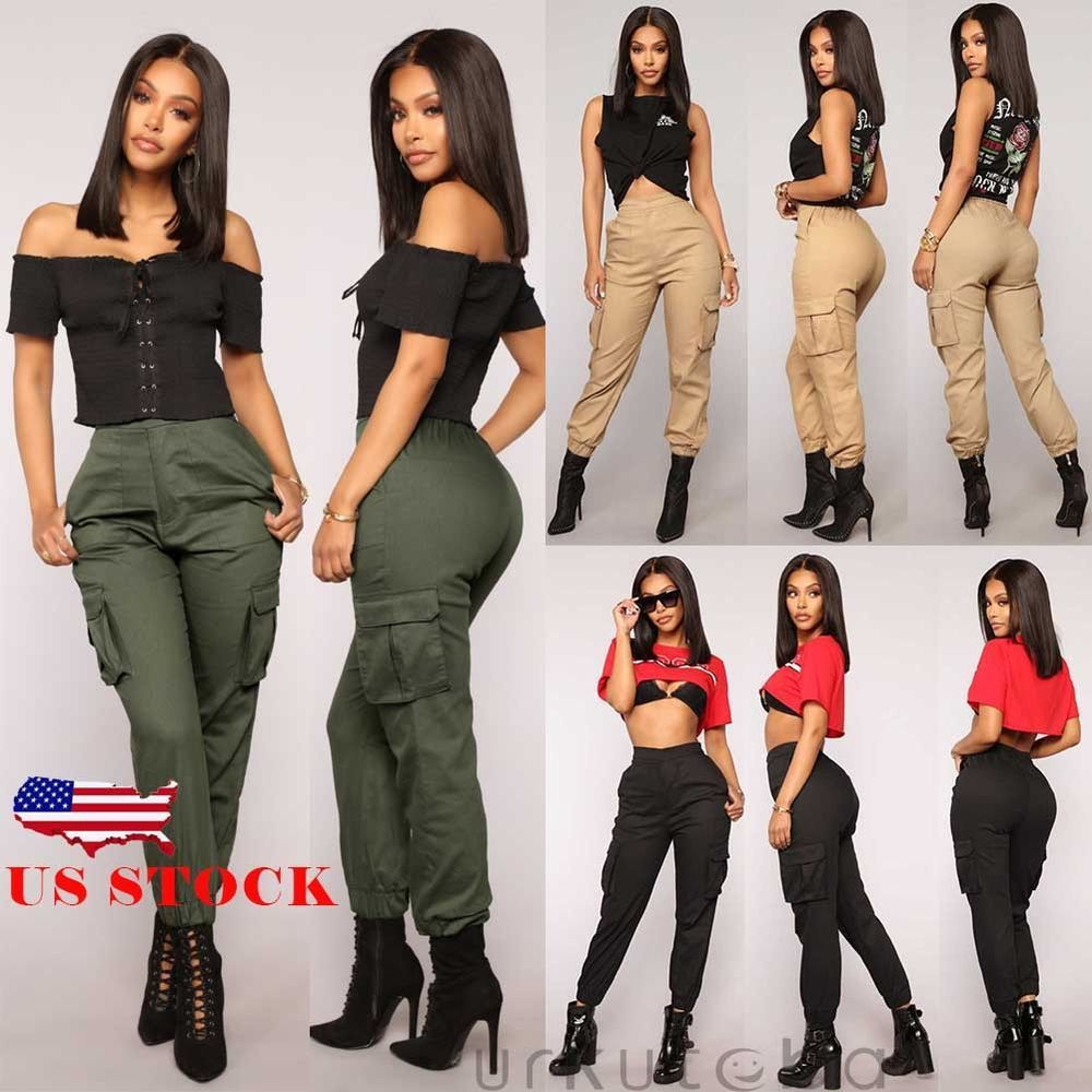7638e43c36ede US Womens Camo Cargo Trousers Casual Pants Military Army Combat Camouflage  Jeans #Urkutoba #CasualPants