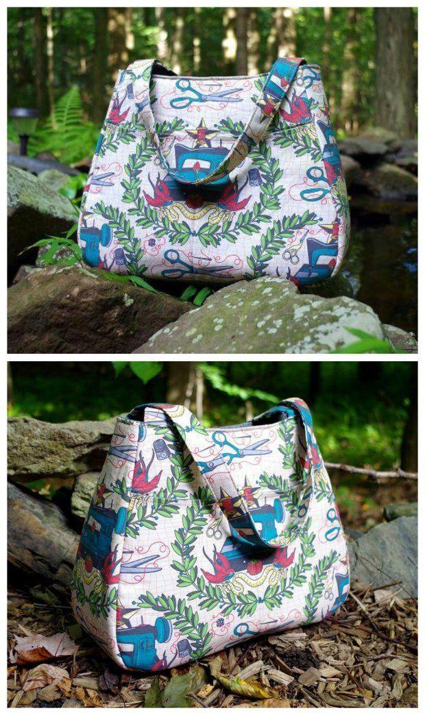 Ethel Tote Bag - free sewing pattern | Bolsos, Costura y Bolsos cartera