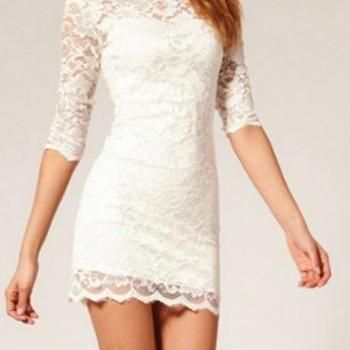Elegant Short White Lace Dress